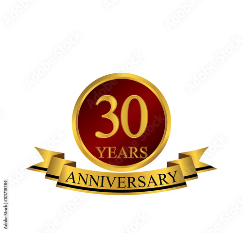 Платно  30 anniversary with red golden ring and ribbon