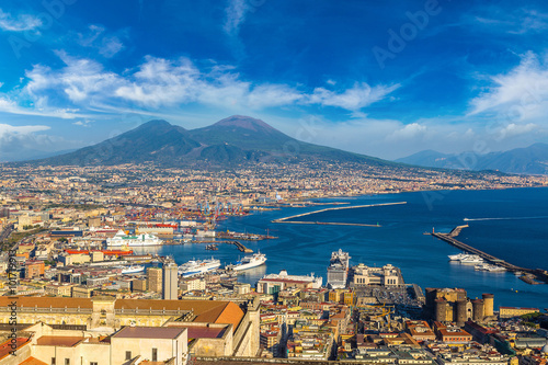 Garden Poster Napels Napoli and mount Vesuvius in Italy