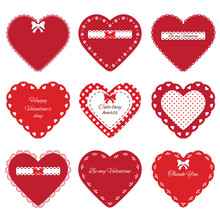 Decorative Cut Out Hearts Set. Valentine's Day Stickers. Isolated On White.