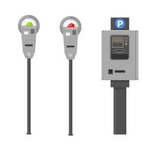 Vector Illustration Of City Parking Meters.