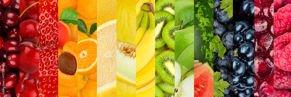 collage of various colorful healthy fruits