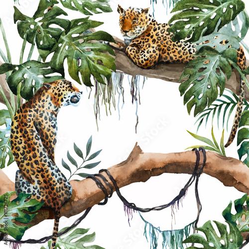 Obrazy na płótnie Canvas Watercolor vector leopard pattern