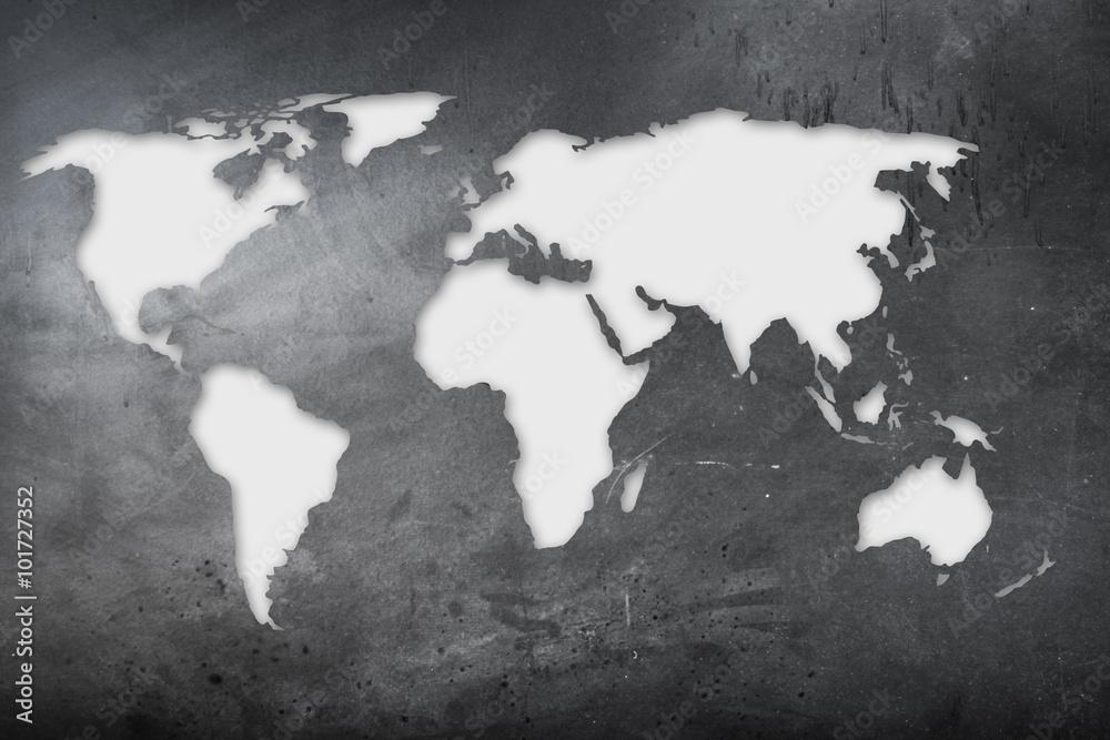 Fototapety, obrazy: mappa mondiale su lavagna