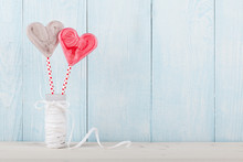 Valentine's Day Heart Shaped Candy On Blue Wooden Background