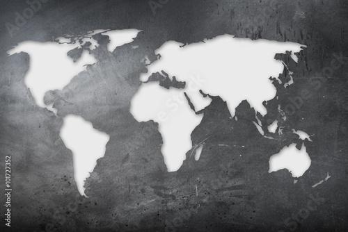 Fototapeta mappa mondiale su lavagna obraz