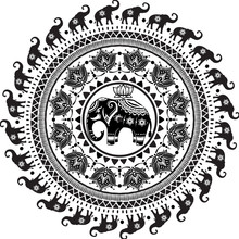 Round Pattern With Decorated Elephants