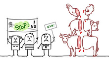 Cartoon Vegan People Saying NO To Meat Industry