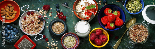 Healthy breakfast of muesli, berries with yogurt and seeds Fototapeta