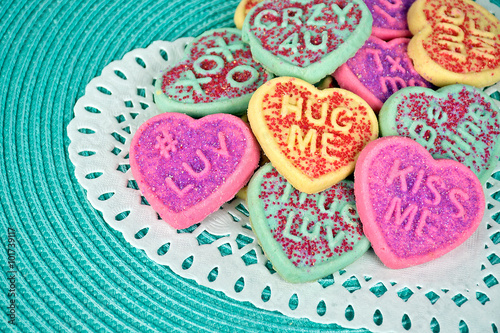 Fotografia, Obraz  valentine sugar cookies on lace heart doily