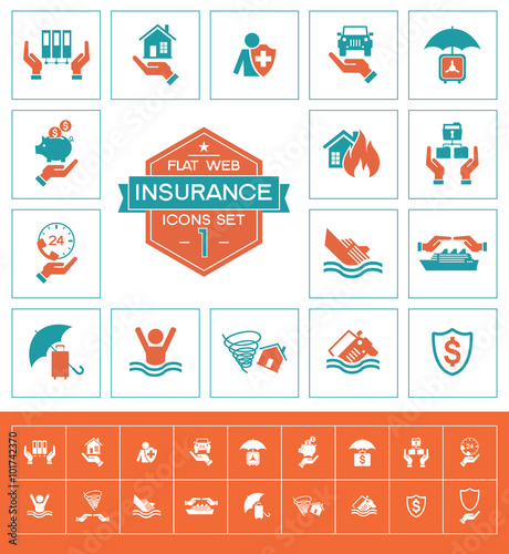 Insurance icons set one