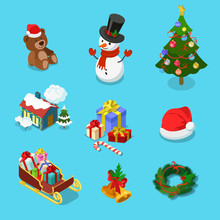 Winter Holiday Christmas Object Snowman Flat Isometric Vector