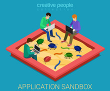 Application Development Sandbox Debug Flat 3d Isometric Vector