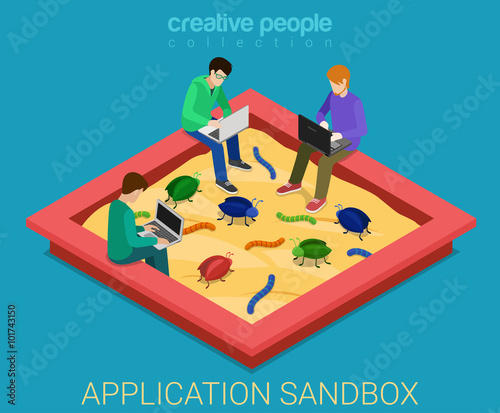 Application development sandbox debug flat 3d isometric vector Wallpaper Mural