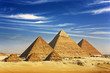 Egypt. Cairo - Giza. General view of pyramids from the Giza Plateau (on front side 3 pyramids popularly known as Queens' Pyramids; next: the Pyramid of Mykerinos, Chephren and Cheops)