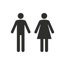 Man And Woman Restroom - Vector Icon.