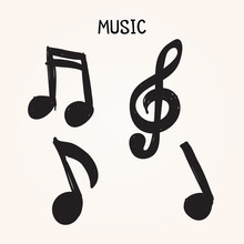 Vector Set Of Hand-drawn Music Notes On White Background For Design, Doodle Illustration