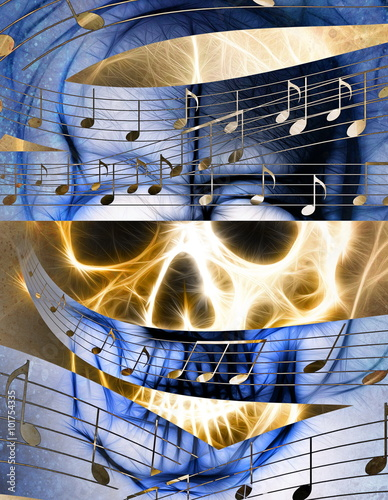 Fotografie, Tablou  Skull and music note