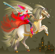 Illustration Of Magic Princess Wits A Sword Riding On Horse, Vector Cartoon Image.
