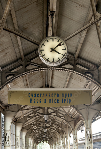 Deurstickers Treinstation clock on the railway station in the old style