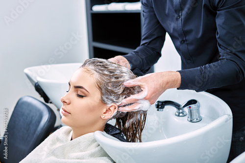 Photo  shampoo for hair, beauty salon, hair wash