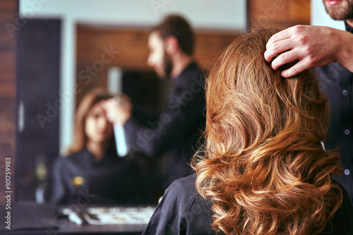 Obraz Women's haircut. hairdresser, beauty salon - fototapety do salonu