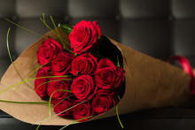 Bouquet Of Red Roses On Black Background