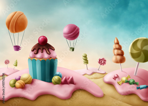 Fantasy candyland Wallpaper Mural