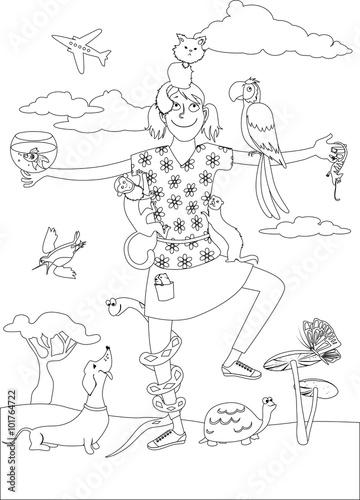 Foto op Plexiglas Art Studio Pet sitter coloring page. Black outline of a girl surrounded by various pets, EPS 8 vector illustration