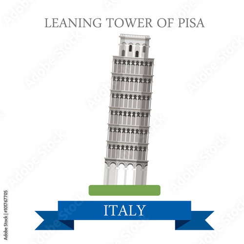 Foto  Leaning Tower Pisa Rome Italy flat vector attraction landmark