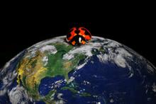 Isolated Ladybug On Earth, Conceptual Image. The Planet Earth Original Image From NASA.