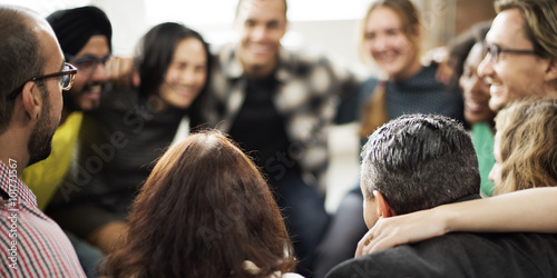 Fotografia  Team Huddle Harmony Togetherness Happiness Concept