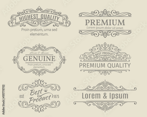 Photo  Banners Labels Frames Calligraphic Design Elements