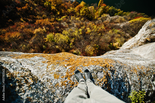 Fotografie, Obraz  Standing on the cliff. Thinking of committing suicide, depressio
