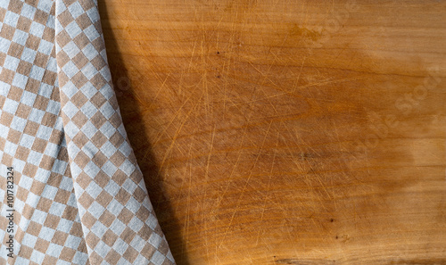 Cutting Board Covered With Tablecloth / Used Wooden Cutting Board Partially  Covered With A Brown And