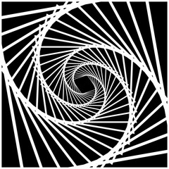 Naklejka Inward rotating, spirally squares abstract monochrome background