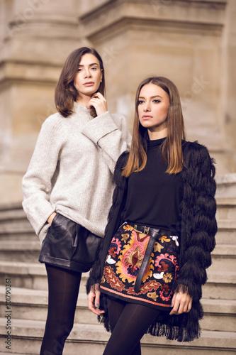 two fashion models posing Poster