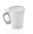 Cup paper coffee on white background