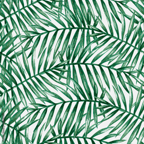 Foto op Canvas Tropische Bladeren Watercolor tropical palm leaves seamless pattern. Vector illustration.