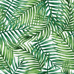 Fototapeta Liście Watercolor tropical palm leaves seamless pattern. Vector illustration.