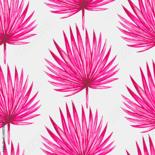 akwarela-tropikalna-rozowa-palma-opuszcza-bezszwowego-wzor-ilustracji-wektorowych