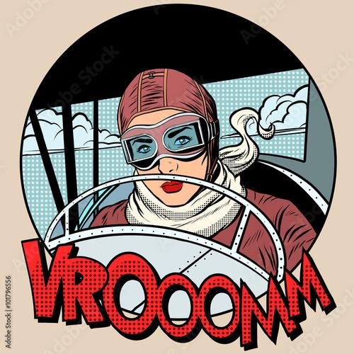 Retro Aviator woman on the plane Canvas Print