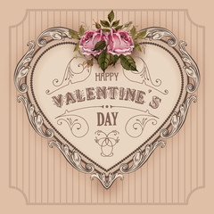 Fototapeta Walentynki Vintage Valentines Day greeting card With Roses and Heart