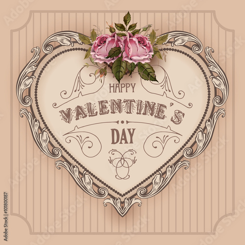 Vintage Valentines Day greeting card With Roses and Heart - 101800187