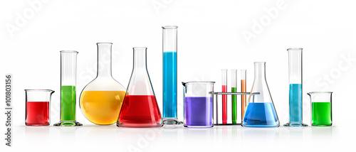 Fotografie, Obraz  Farbige Chemiegläser in Reihe