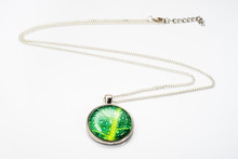 Beautiful Pendant, Jewelry Made With Silver And Cabochon Isolated On White