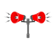 A Vector Illustration Of Speakers Sounding A Warning Or Siren.  Announcement Communication Or Warning From A Siren Or Speakers.