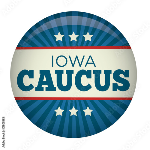 Valokuvatapetti Retro or Vintage Style Iowa Caucus Campaign Election Pin Button or Badge
