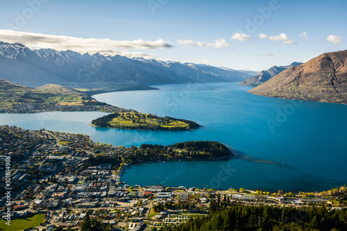 Canvastavla View of Queenstown and Lake Wakatipu, New Zealand