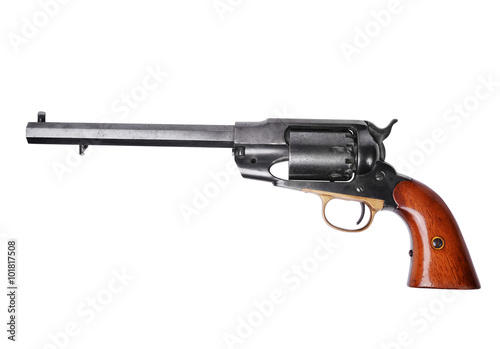 Fotografie, Obraz  Percussion revolver isolated on white background