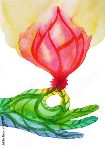 Gyan Mudra Seal Of Knowledge With Pink Lotus Flower Hand Pose